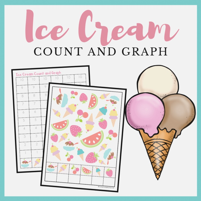 Printable Ice Cream Count and Graph Worksheets