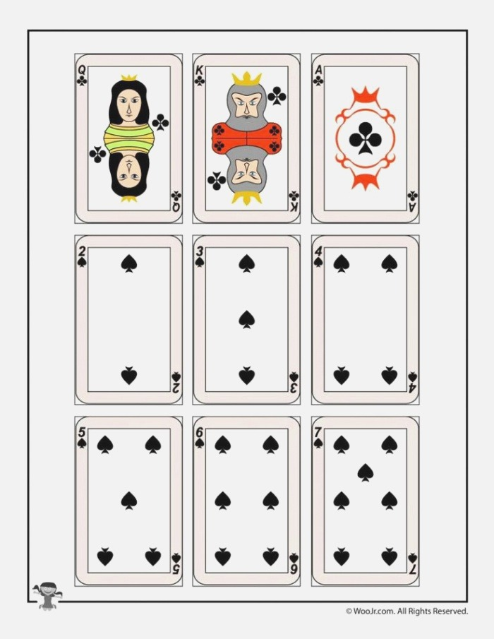 Printable Playing Cards Clubs & Spades