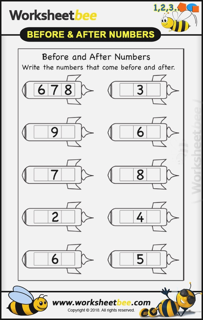 Printibales Worksheet for Kids before and after Numbers 9