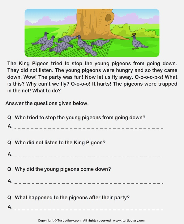 Read Prehension Hunter and Pigeons and Answer the