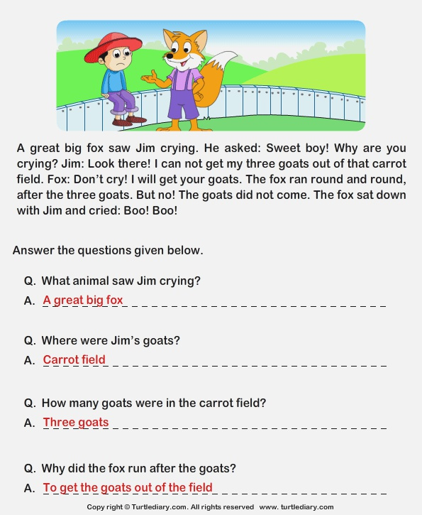 Read Prehension Jim and His Goats and Answer the