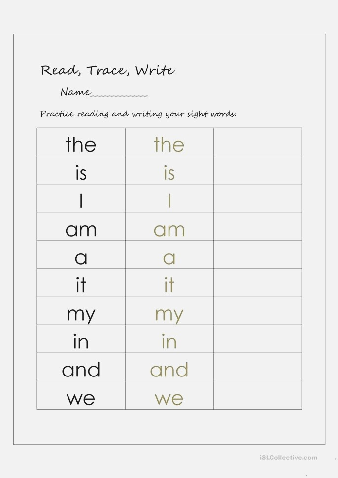 Read Trace and Write Sight Words Worksheet Free Esl
