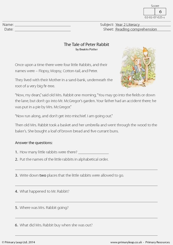 Reading Prehension the Tale Of Peter Rabbit