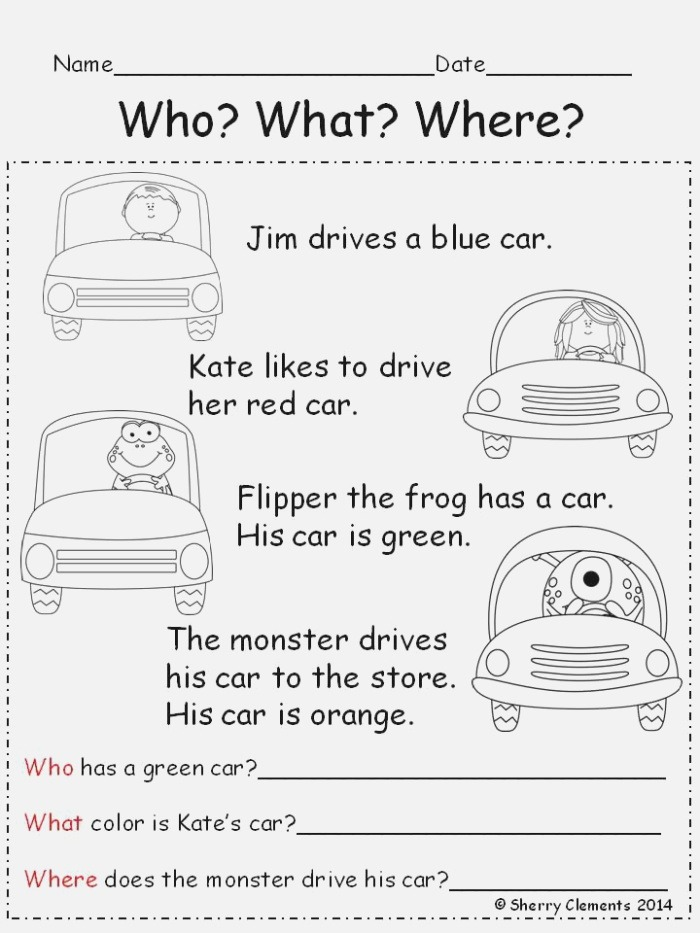 Reading Prehension who What where Kindergarten 1st