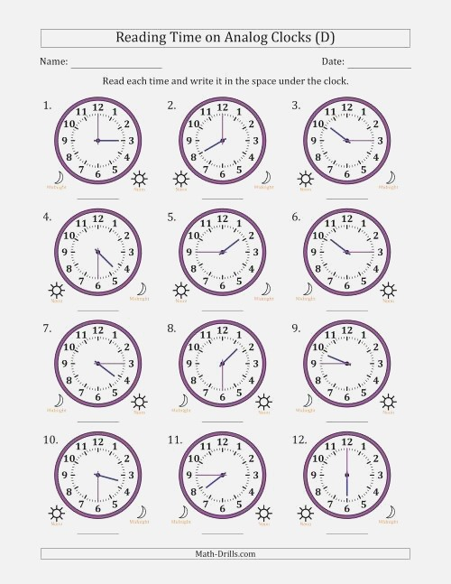 Reading Time On 12 Hour Analog Clocks In 15 Minute