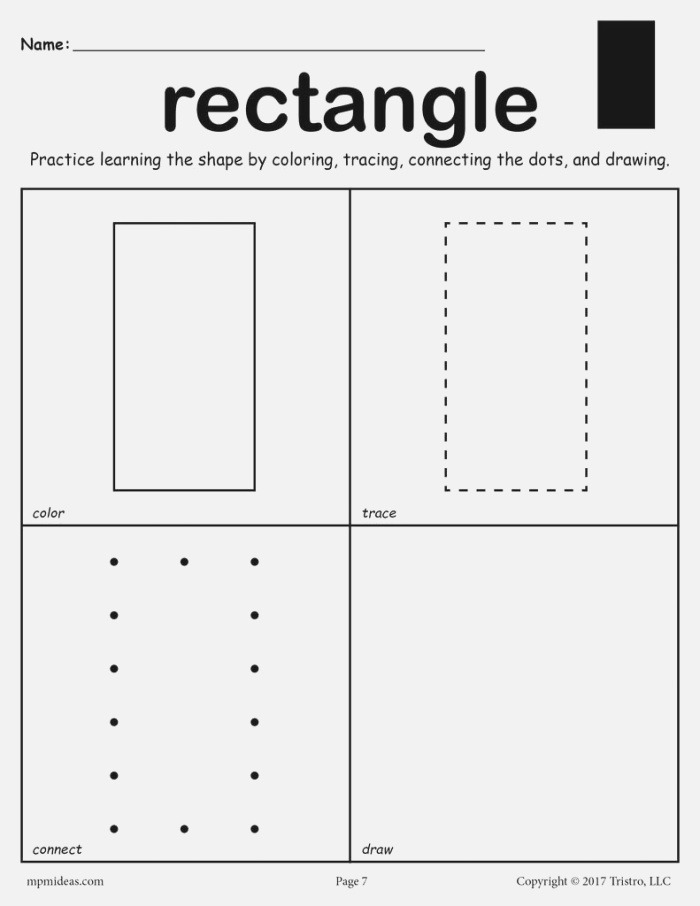 Rectangle Worksheet Color Trace Connect & Draw