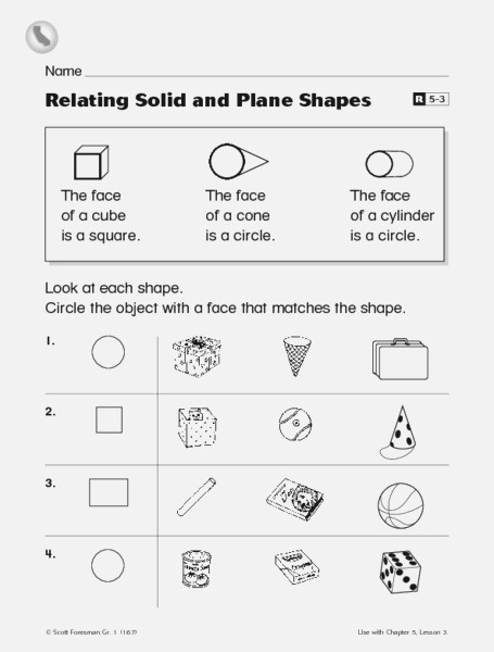 Relating solid and Plane Shapes Worksheet for 1st Grade