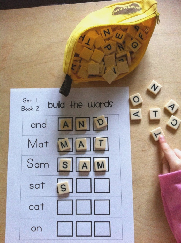 Scrabble Letters or Bananagrams to Build First Words Educat