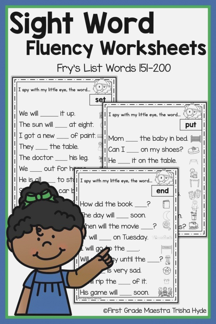 Sight Word Fluency Worksheets Frys Words 151 to 200