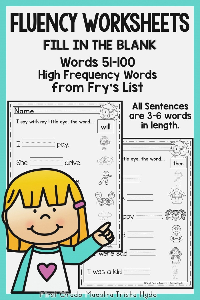 Sight Word Fluency Worksheets Fry's Words 51 100