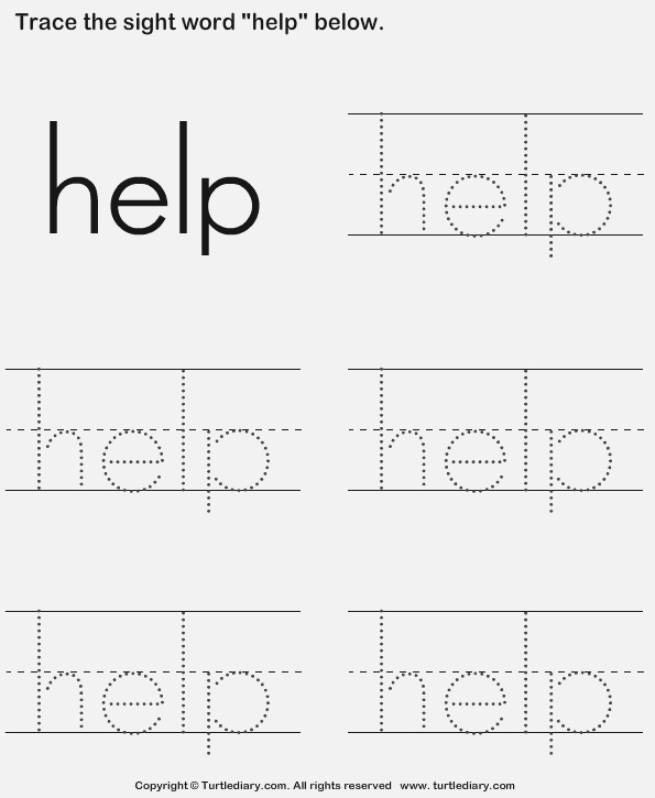 Sight Word Help Tracing Sheet Worksheet Turtle Diary