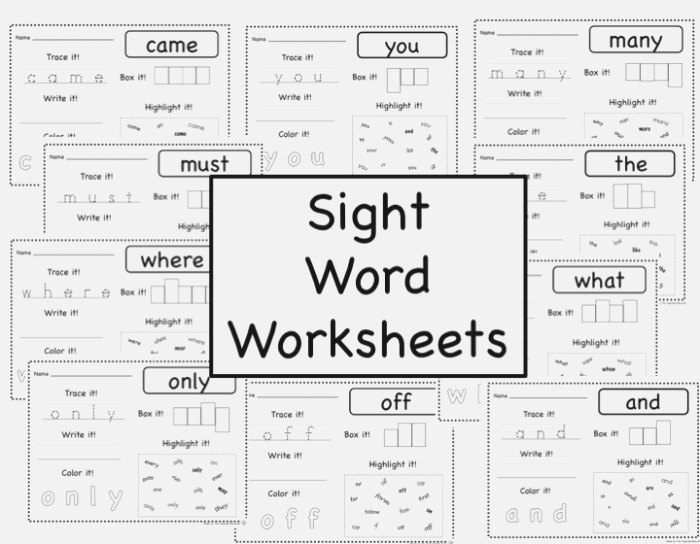 Sight Word Worksheets Fry Word Lists