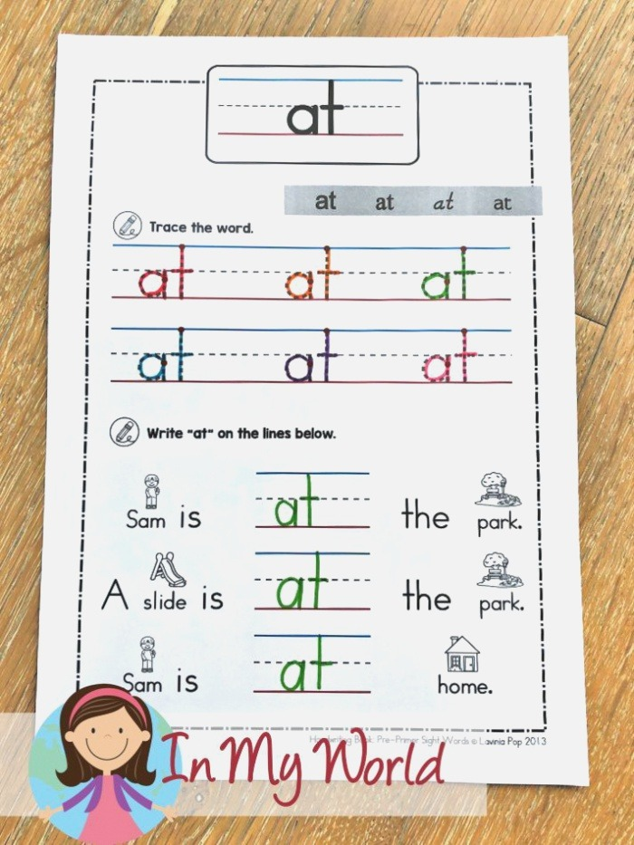 Sight Words and Word Families Week 4 In My World
