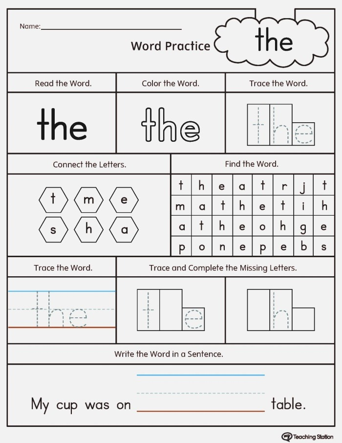 Sight Words Tracing Worksheets Pdf