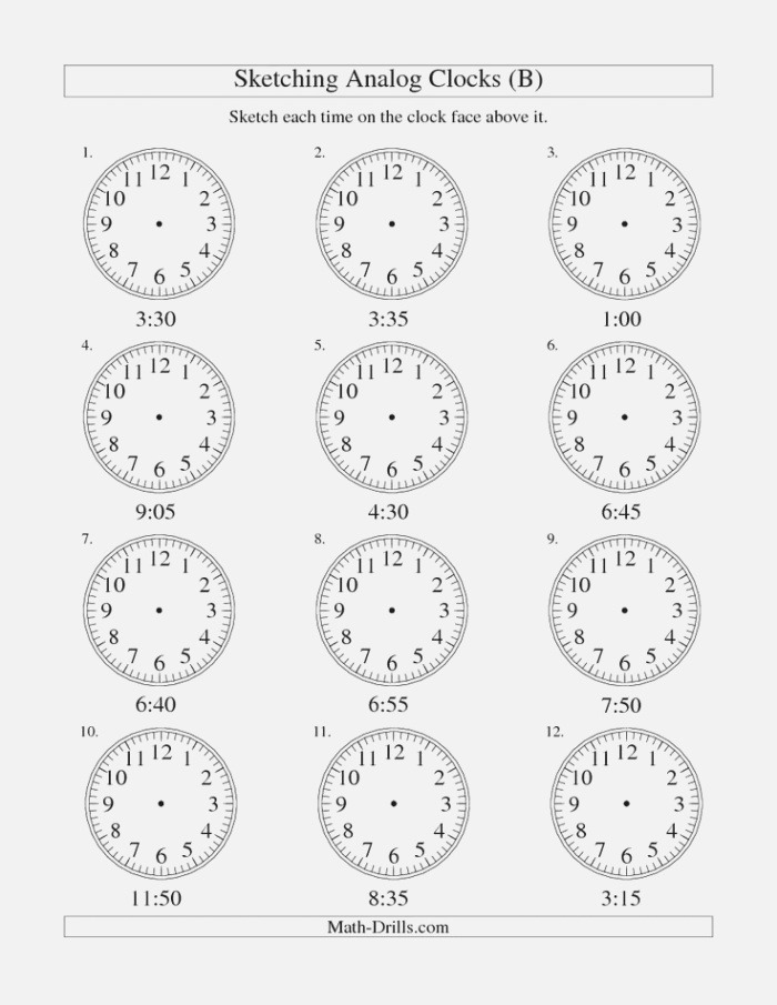 Sketching Time On Analog Clocks In 5 Minute Intervals B