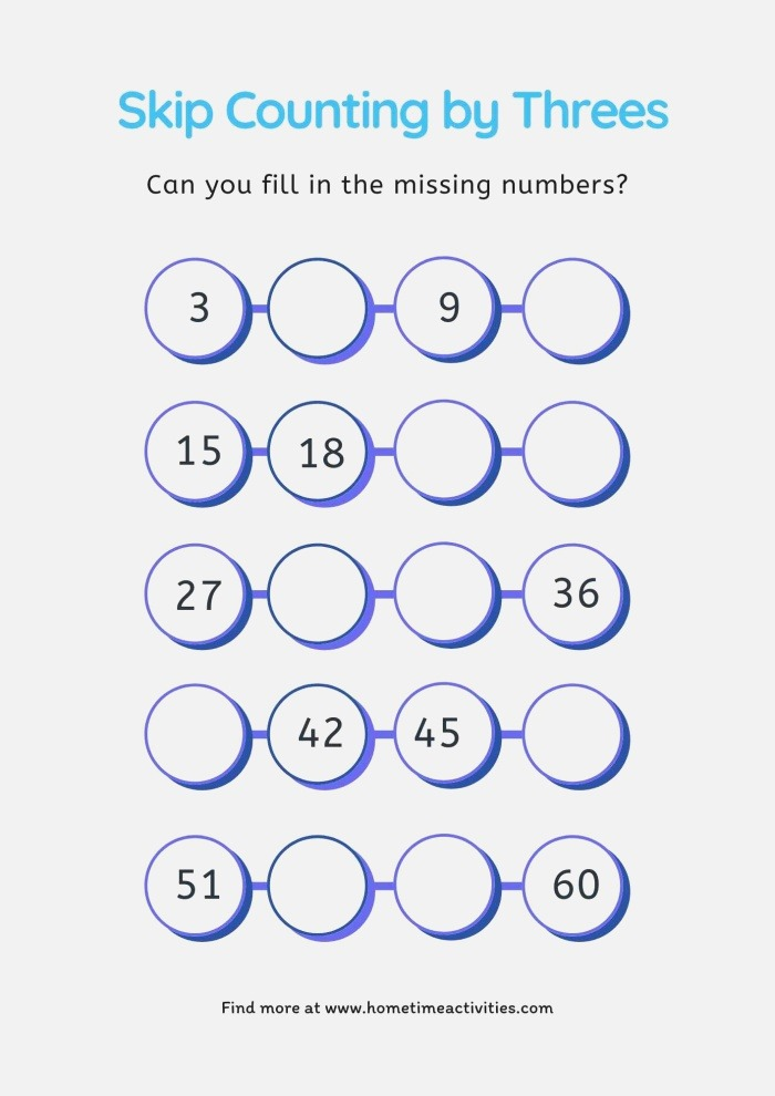 Skip Counting by Threes Home Time Activities