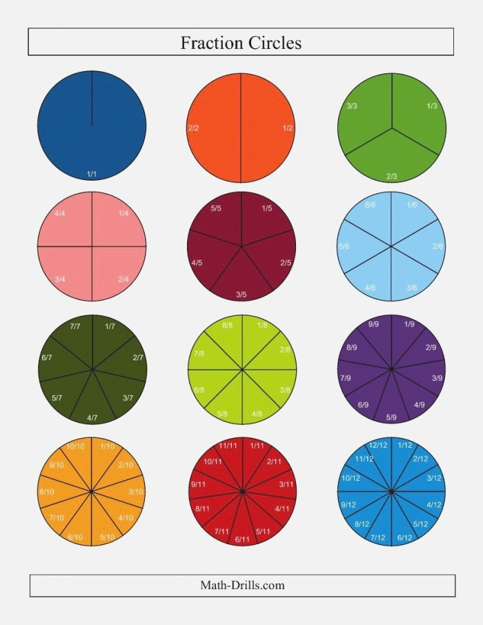 Small Color Fraction Circles with Labels D
