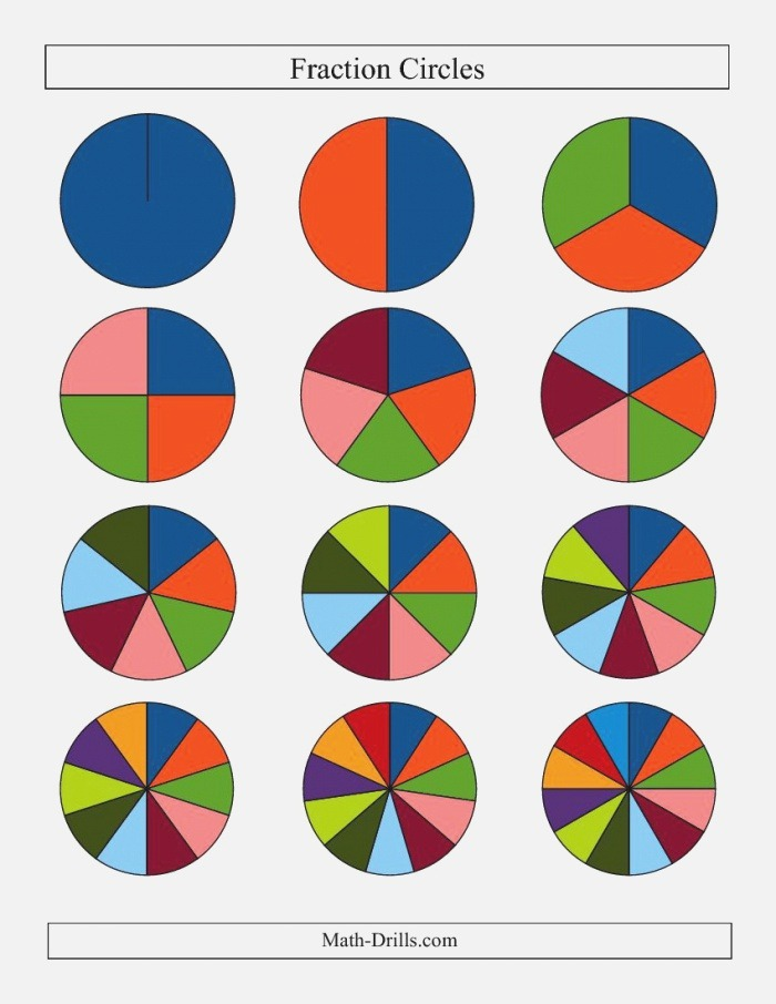 Small Multi Color Fraction Circles No Labels D Fractions