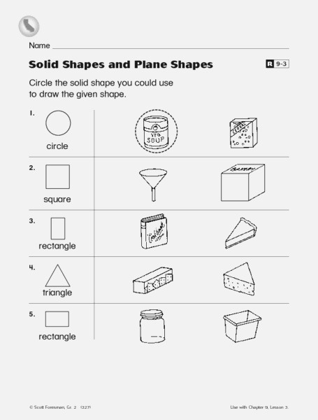 solid Shapes and Plane Shapes Worksheet for 2nd Grade