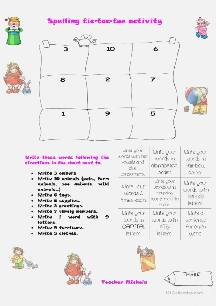 Spelling Tic Tac toe Activity English Esl Worksheets for