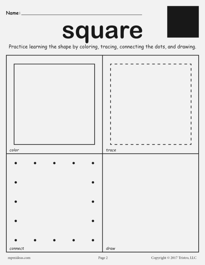 Square Worksheet Color Trace Connect & Draw – Supplyme