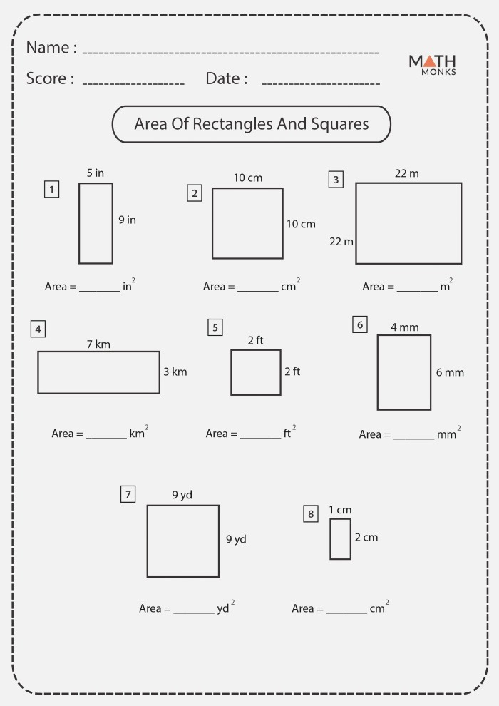 Squares and Rectangles Worksheets