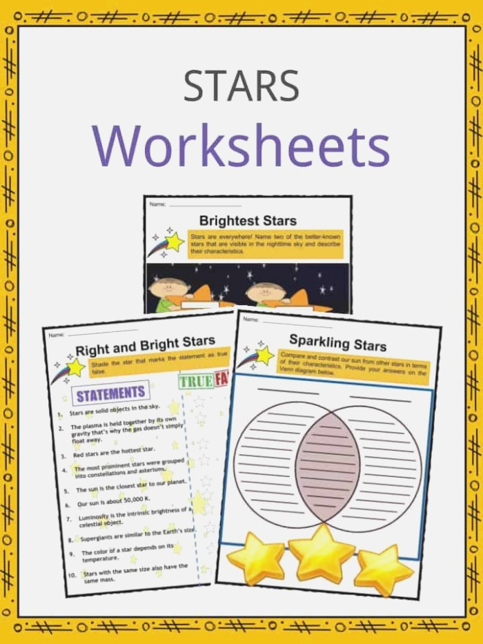 Stars Facts Worksheets formations & Characteristics for Kids