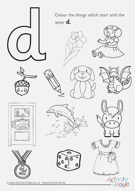 Start with the Letter D Colouring Page
