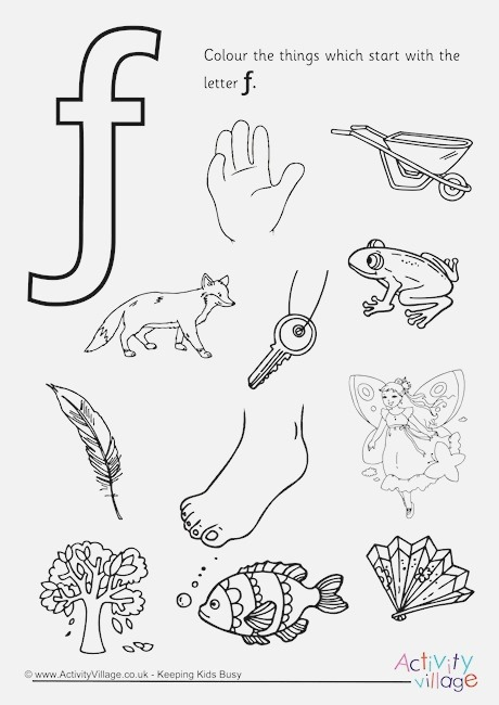 Start with the Letter F Colouring Page