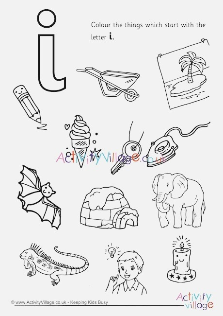 Start with the Letter I Colouring Page