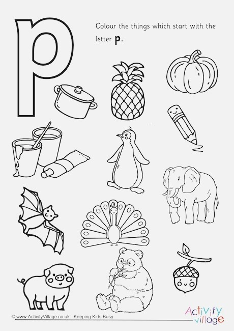 Start with the Letter P Colouring Page