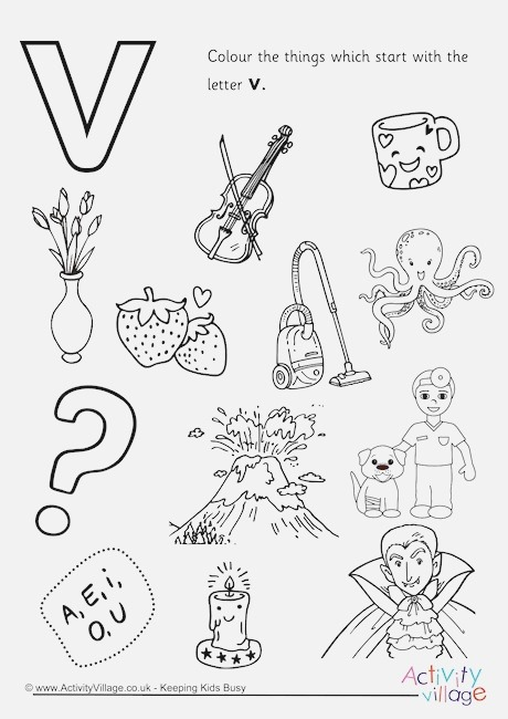 Start with the Letter V Colouring Page