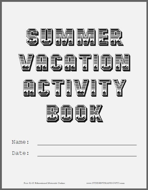 Summer Vacation Activity Book Cover