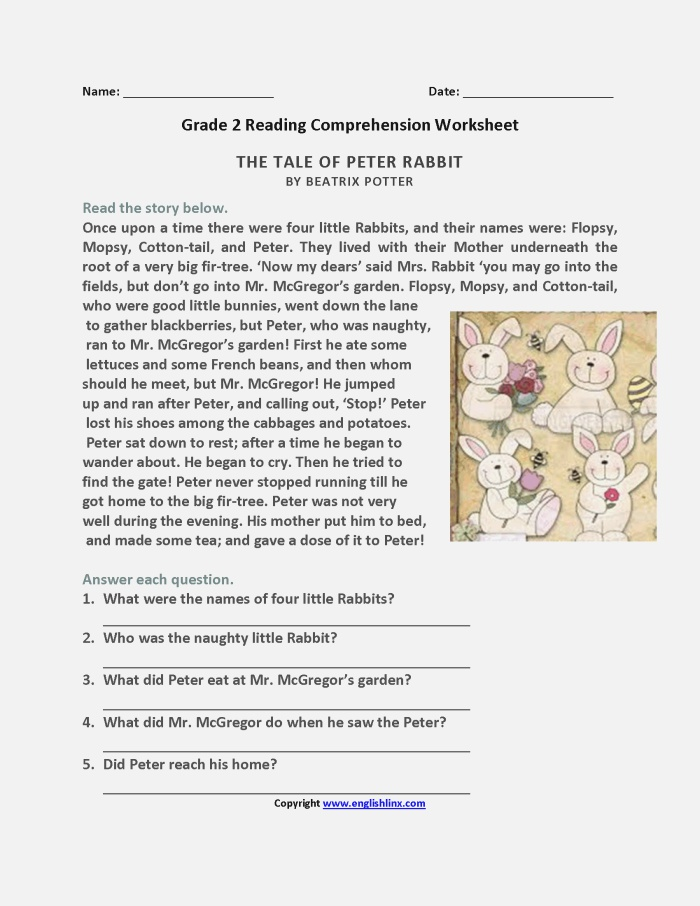 Tale Of Peter Rabbit Second Grade Reading Worksheets