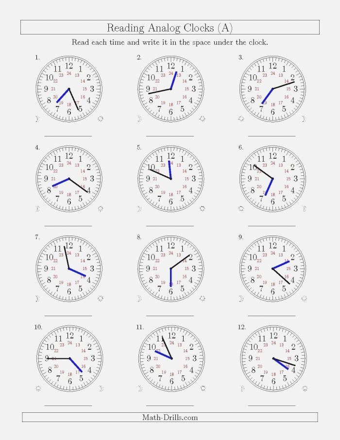 Teach Child How to Read Analog Clock Printable Worksheets