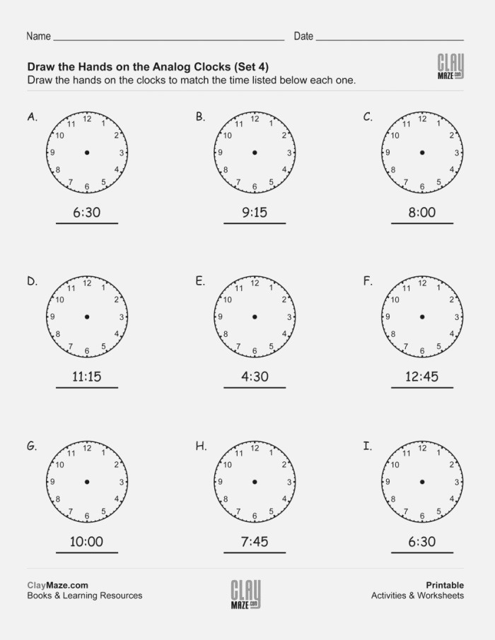 Teach Child How to Read Analog Time Worksheets Printable