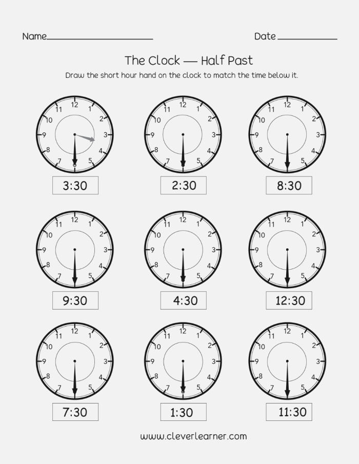 Telling Time Half Past the Hour In 2020