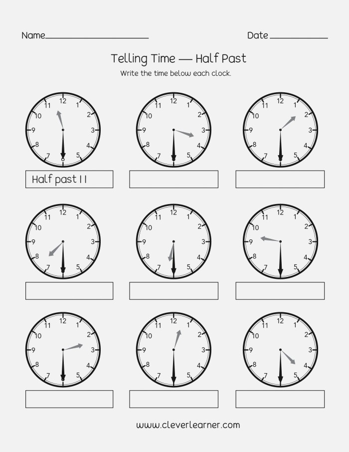Telling Time to the Half Hour Worksheets — Db Excel