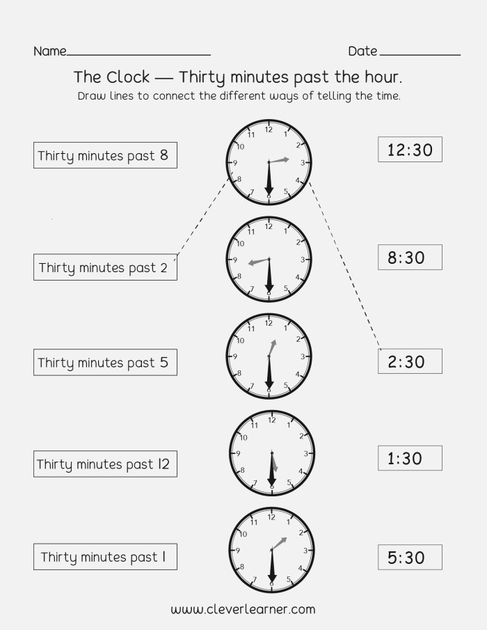 Telling Time Worksheets Half Hour Increments Units
