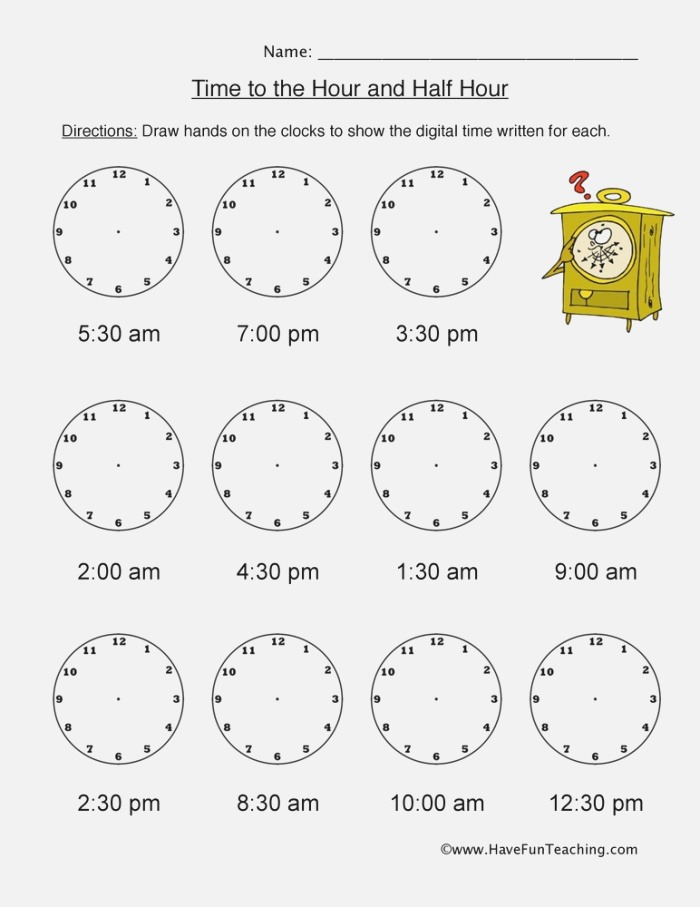Telling Time Worksheets Page 2 Of 4