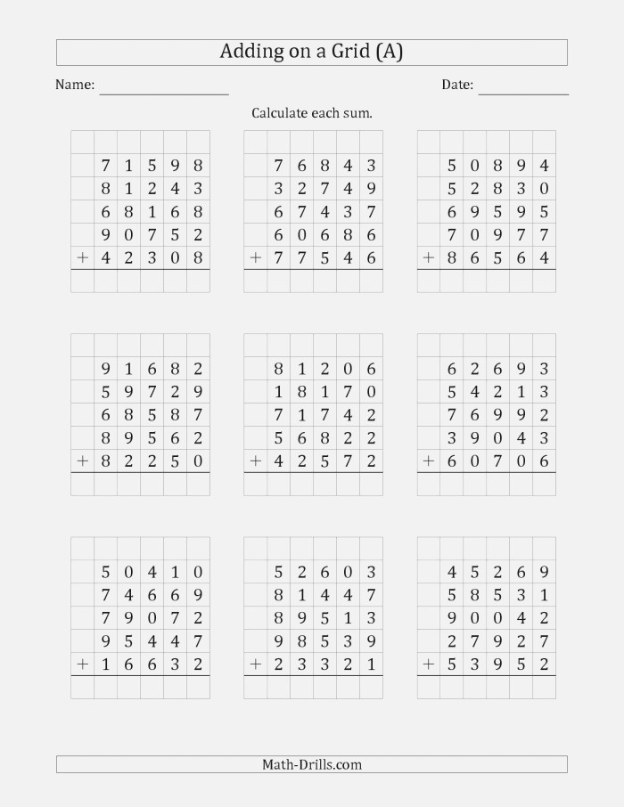 the Adding Five 5 Digit Numbers On A Grid A Math