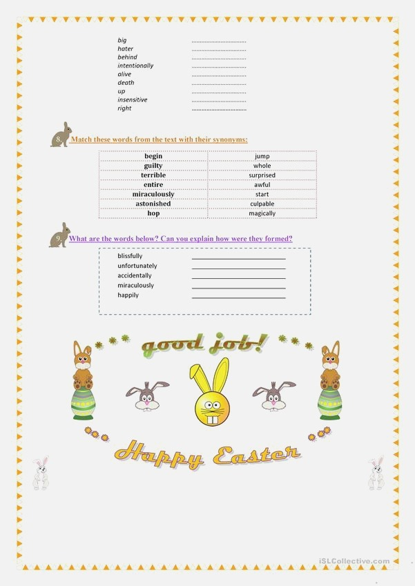 the Easter Bunny Funny Reading Grammar Vocabulary