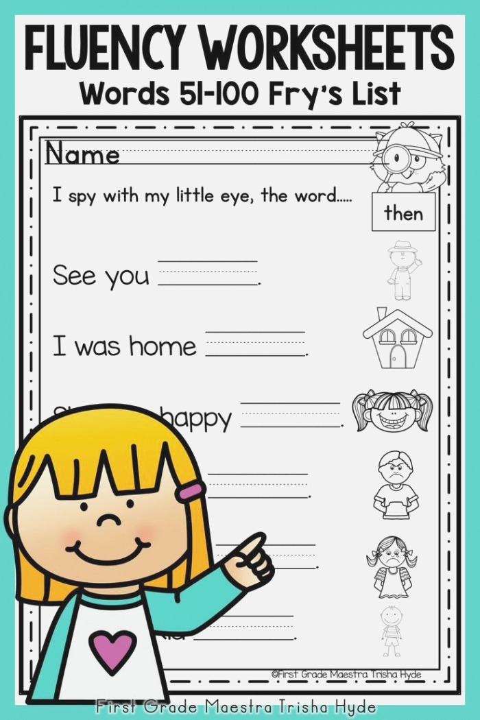 the High Frequency Word Fluency Worksheets are Perfect for