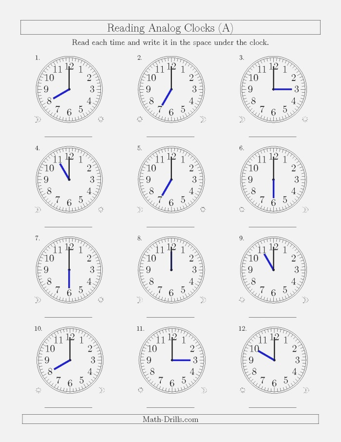 the Reading Time On 12 Hour Analog Clocks In E Hour