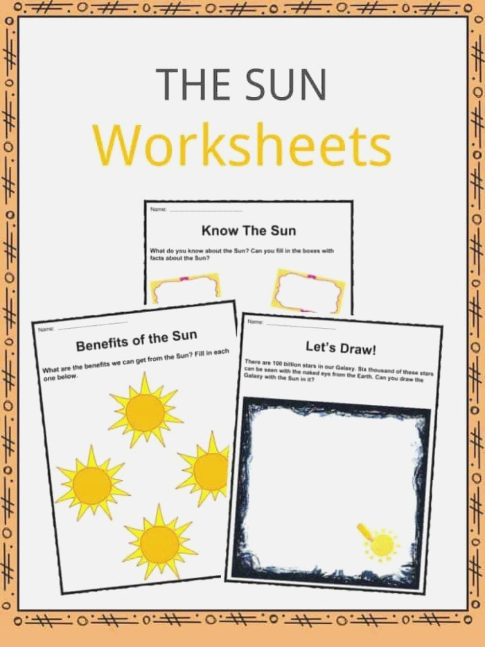 the Sun Facts Worksheets & Key Information for Kids