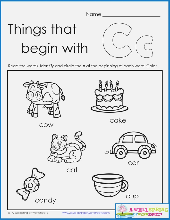 Things that Begin with A Z Worksheets Kids Read the Words
