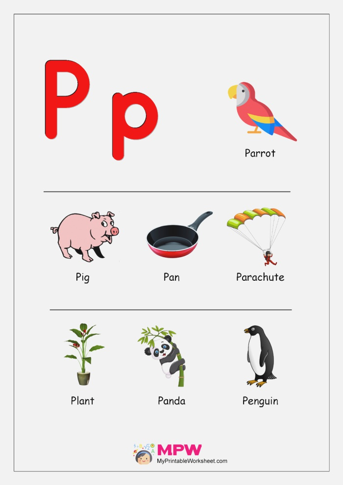 Things that Start with P Q R S T for Preschool