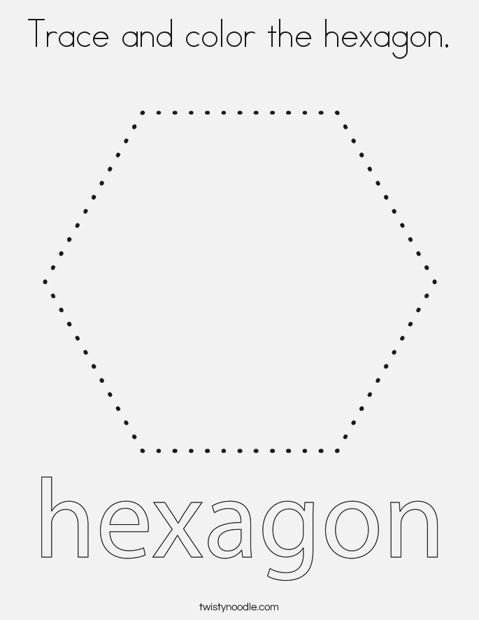 Trace and Color the Hexagon Coloring Page Twisty Noodle