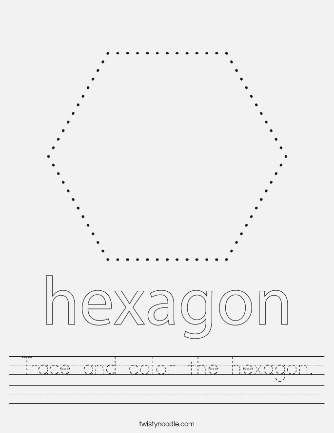 Trace and Color the Hexagon Worksheet Twisty Noodle