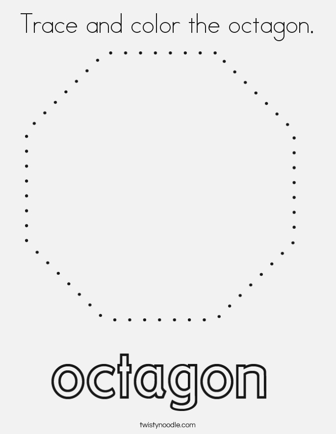 Trace and Color the Octagon Coloring Page Twisty Noodle